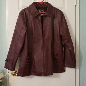 Red mock leather jacket